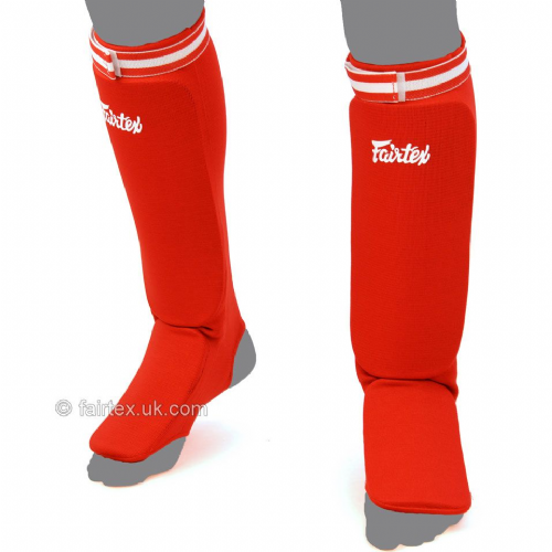 Fairtex Elastic Competition Shinguards - Red